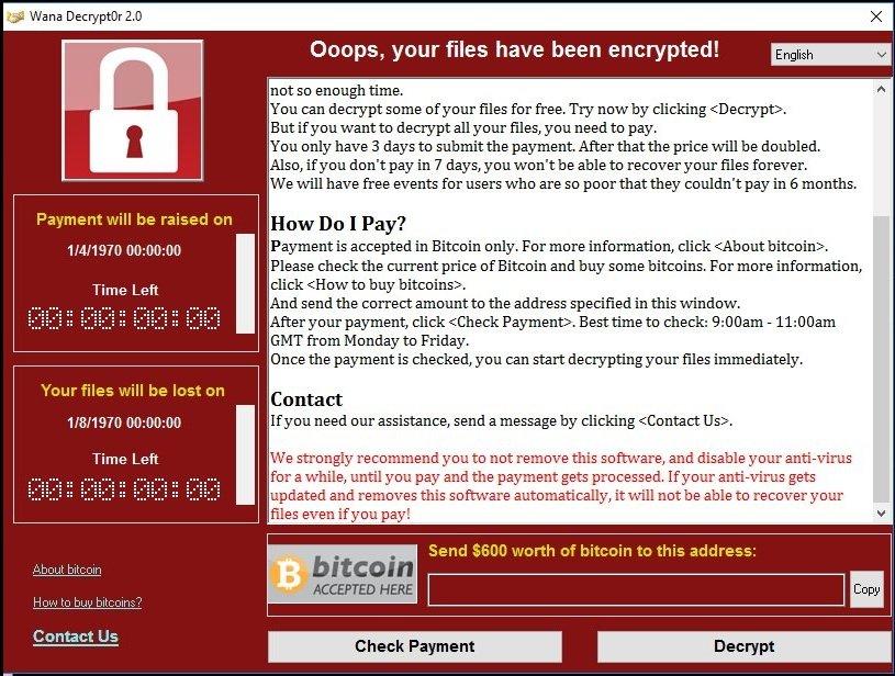 WannaCry kiristysohjelma