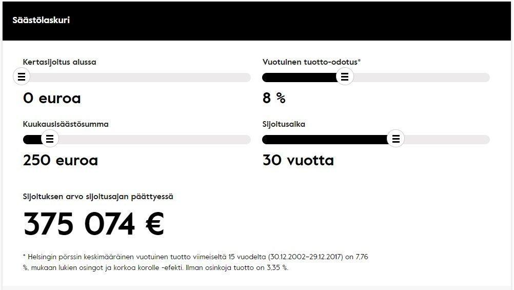 säästäminen - nordnet säästölaskuri